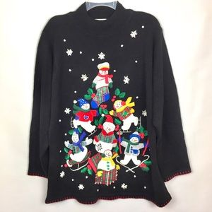 Ugly Christmas Sweater Black Red Skating Snowman